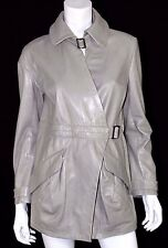 NINA RICCI Light Gray Stag Deerskin Leather Belted Leather Coat 38