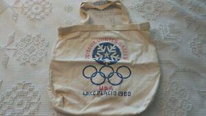 1980 USA LAKE PLACID WINTER OLYMPICS GAMES Canvas TOTE Bag