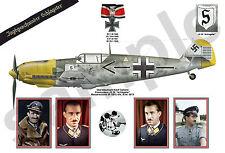 aviation art A3+ 13 x 19 Luftwaffe pilot Adolf Galland JG 26 color photo print