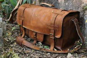 """20"""" New Vintage Real Leather Large Travel Luggage messenger Gym Duffle Bag"""