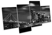 San Francisco Bay Bridge Skyline City B&W MULTI CANVAS WALL ART Framed Panel
