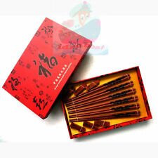 SET 6 Pairs Chopsticks/Rests/Box wooden Pyrograph Carved Chinese Dragon design