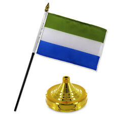 "Sierra Leone 4""x6"" Flag Desk Set Table Stick Gold Base"