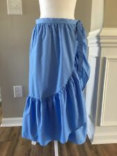 New J Crew Ruffle Wrap Skirt in Cotton Poplin Bright Peri Blue Sz 4 G4332