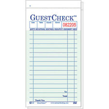Guest Checks, Book of 50 Duplicate Sheets W/ Yellow Paper W/ Interleaving Paper