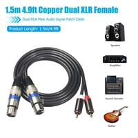 4.9ft Copper Dual XLR Female to Dual RCA Male Audio Signal Patch Cable Black