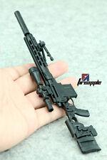 "1:6 Scale Weapon Model Assembly Sniper rifle Gun 4D Black MSR For 12"" Figure"