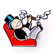 Rich Uncle Pennybags Monopoly Man Smokin' Cigar Enamel Pendant Lapel Hat Pin