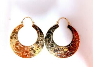 Tibetan Crescent Carved Gold Earrings 14kt 1.6 inch