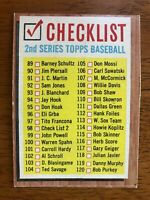 1962 Topps 2nd Series Unmarked Checklist Baseball Card #98