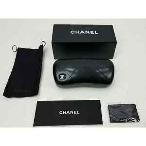 Authentic Chanel black hard leather sunglasses case pouch & cleaning cloth