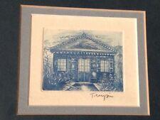Lavis bleu de Chine dessin caravelle & maison coloniale signé Turpin x3