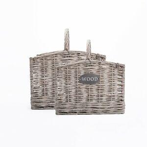 Wickerfield Grey Rectangle Wicker Willow Farm Shop Display Storage Log Basket