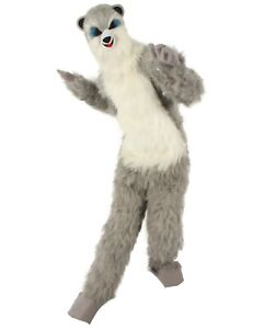 HPO White and Grey Civet Cat Costume with Mask  - Long Synthetic Fibers