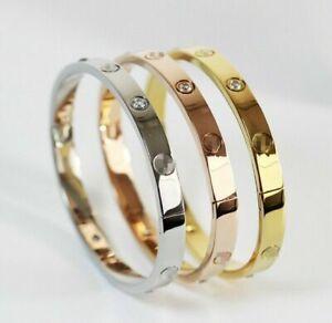Women Elegant Love Forever Screw Bracelet Bangle Silver Rose Gold Gifts