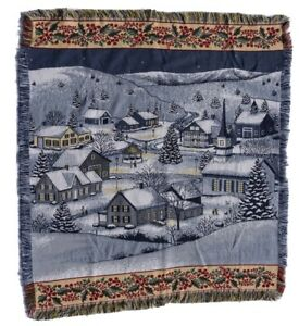 Vintage Mohawk Rug & Textiles Beautiful Winter Holiday Landscape 4ft Rug Rare