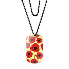 Red Poppies Flower Acrylic Dog Tag with Black Ball Chain
