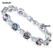 Black Opal Fire Diamonds Silver Tennis Bracelet Xmas Presents for Her Women J654
