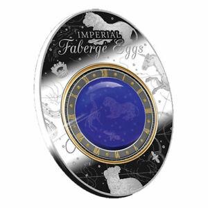 Blue Tsarevich Constellatoin Egg Imperial Faberge Eggs Silver Coin Niue 2018