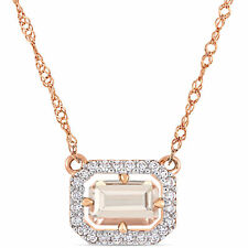 14k Rose Gold Morganite and Diamond Halo Necklace