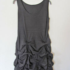 BORIS INDUSTRIES langes Kleid Lagenlook Raffsaum schwarz Baumwolle 46 (4)
