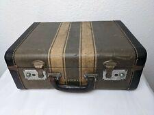 """Vintage Tweed Stripe Suitcase 1930s 1940s Luggage Suitcase Brown """"P STEWART"""""""
