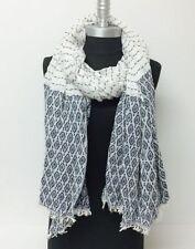 Women's Winter Scarf Ticking Striped Oblong Shawl Wrap Pashmina Soft Navy white