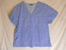 SCRUBS MEDICAL / DENTAL ABSOLUTE BLUE WITH DOTTED CIRCLES SIZE XL TOP UNIFORM