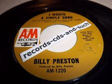 BILLY PRESTON-I WROTE A SIMPLE SONG/OUTA-SPACE-A&M AM-1320 VG+ 45