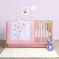 The Peanutshell Belle Butterfly 4 Piece Crib Bedding Set Quilt, Sheet, Skirt,