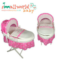 Personalised Girls Pink Polka Dot Skirted Moses Basket Cover (NEXT DAY DISPATCH)