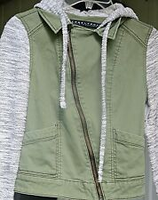 olive green military jacket with knit sleeves and hood XS womens' TINSEL TOWN