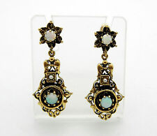 Antique Victorian 14k Yellow Gold Opal Seed Pearl Earrings Beautiful Design