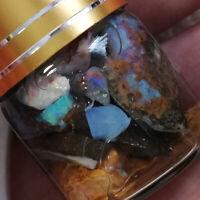 Approx 40CT AUSTRALIAN BOULDER OPAL CHIPS ROUGH OPAL In GLASS BOTTLE FE-7