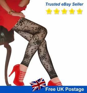 Women's Patterned Net Fishnet Hosiery Tights Stockings Footless Floral Lingerie