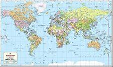 "World Map 2017 (Wall Map) 52"" x 31"" Laminated"