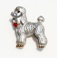 BROOCH cute poodle ornate silver tone red rhinestones