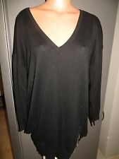 George V Neck extra long sweater. black. US size 10. long sleeve. zip at bottom
