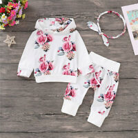 Toddler Infant Baby Girl Floral Hooded Tops Floral Pant Tracksuit Newborn Outfit
