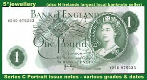 bank of England money £1 one pound banknotes 1970 Series C