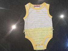 Juicy Couture New & Genuine Baby Yellow Frilled Cotton Vest With Logo 0/3MTHS