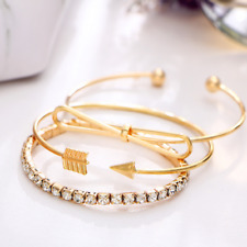 3Pcs/Set Fashion Women's Gold Arrow Rhinestone Opening Bangle Bracelets Jewelry