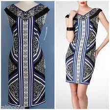 NWT $139 10 M Maggy London Gorgeous V Neck Printed Stripe Scuba Sheath Dress