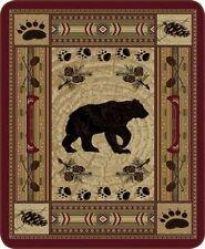 Queen Size Native Bear Patchwork Quilt Mink Faux Fur Blanket Super Soft Plush