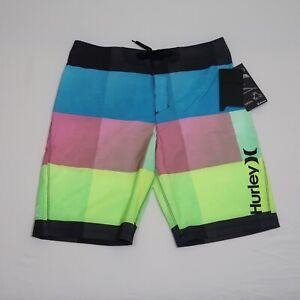 "NEW Hurley Boy's Multicolored Colorblock 9"" Phantom Swim Trunks Size 16"