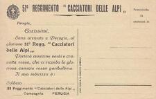 C306) PERUGIA, 51 FANTERIA CACCIATORI DELLE ALPI, ALLE FAMIGLIE DELLE RECLUTE.