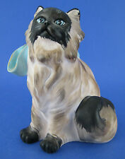 Prof G Bessi Brown Angora Cat Sculpture Figurine Stonelite Blue Bow