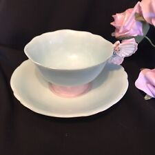 Pink & Blue Paragon Butterfly Handle Tea Cup & Saucer
