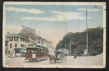 POSTCARD NEWPORT RI/RHODE ISLAND WASHINGTON MALL STORES & TROLLEY 1907