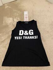 Dolce & Gabbana Black Cotton Millennials Tank - VEST Top, Size UK 8, IT 40 SMALL